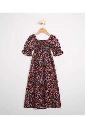 PALOMINO Menina Vestido Estampado - Vestido Infantil Longo Floral Manga Bufante Preto