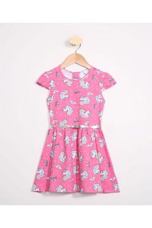 PALOMINO Menina Vestidos - Vestido Infantil Unicórnios Manga Curta com Cinto Rosa