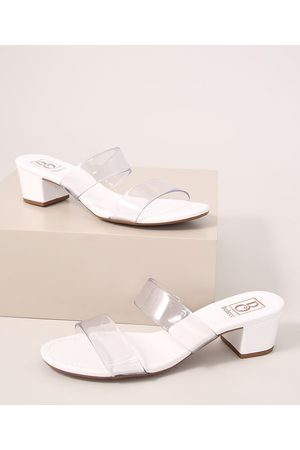 BEBECÊ Mulher Sapato Mule - Tamanco Feminino em Vinil Salto Médio Bebecê