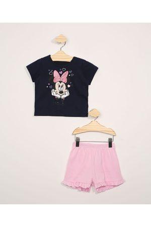 Disney Conjunto Infantil Blusa Manga Curta Minnie com Glitter Azul Marinho + Short com Babados