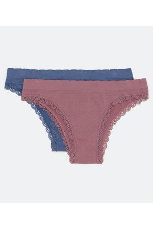 Lov Mulher Bikini - Kit 2 Calcinhas Biquíni em Microfibra sem Costura com Rendinha | | / | P