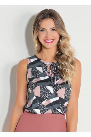 Quintess Mulher Blusa - Blusa Geométrica com Cordel no Decote