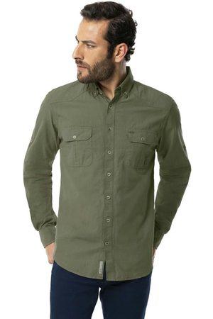 Hangar 33 Homem Camisa Casual - Camisa Cargo Bolsos Slim Fit