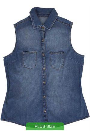Cativa Plus Size Camisa Jeans sem Manga