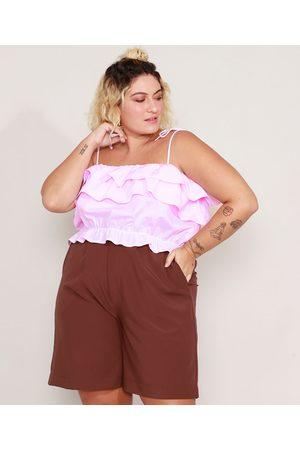 Mindse7 Mulher Básica - Top Cropped de Algodão Listrado Plus Size com Babados Alça Laço Decote Reto Rosa