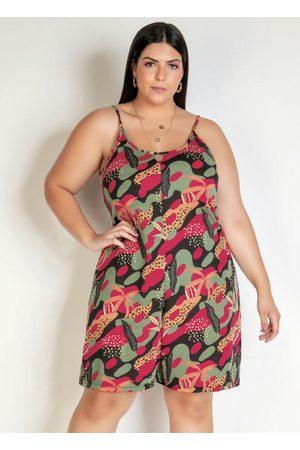 Marguerite Macaquinho Camuflado/Floral com Alças Plus Size