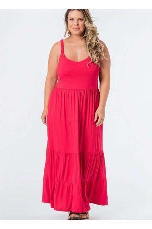 Munny Mulher Vestido Longo - Vestido Almaria Plus Size Longo Liso Camadas