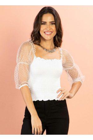 QUINTESS Mulher Blusa - Blusa Branca com Transparência e Mangas Bufantes
