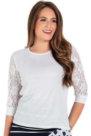 ROSALIE Mulher Blusa - Blusa Branca com Renda Moda Evangélica