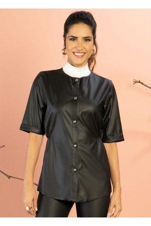 QUINTESS Mulher Camisa Manga Curta - Camisa Preta Mangas 3/4 e Abertura com Botões