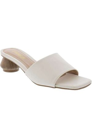 Gabriela Mulher Sapato Mule - Tamanco Salto Geométrico Off White Off-Wh