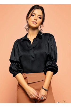 QUINTESS Mulher Camisa Casual - Camisa Preta com Mangas Bufantes