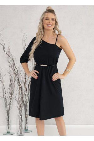 MODA POP Mulher Vestido Médio - Vestido com Decote Assimétrico