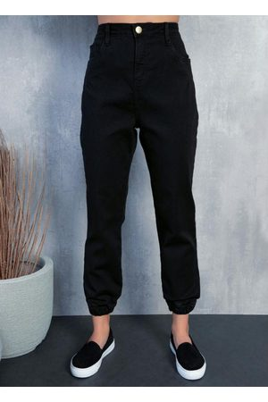 Quintess Calça Jeans Preta Estilo Jogger com Bolsos