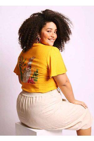 Munny Mulher Blusa - Blusa Almaria Plus Size Bata Estampada Amare