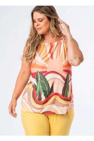 Munny Mulher Blusas tipo Regata - Regata Almaria Plus Size Estampada Alça Cord