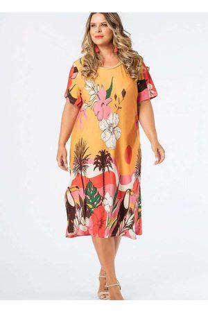 Munny Mulher Vestido Estampado - Vestido Almaria Plus Size Midi Estampado Ama