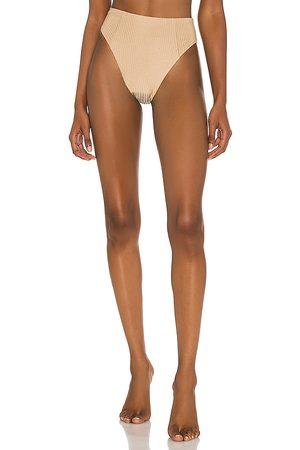 Vitamin A Sienna High Waist Bikini Bottom in Beige. - size M (also in S, XS)