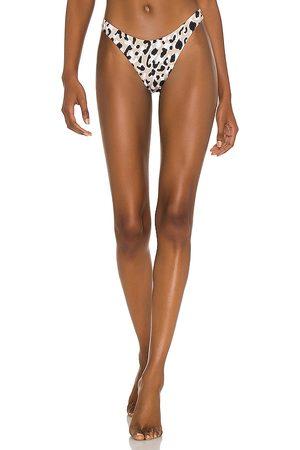 Vitamin A California High-Leg Bikini Bottom in Tan. - size L (also in M, S, XS)