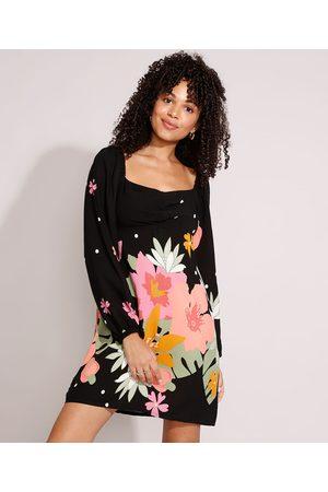 YESSICA Mulher Vestido Estampado - Vestido de Viscose Floral Curto Manga Bufante Preto