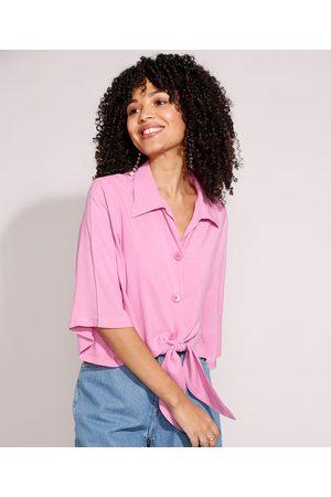 YESSICA Mulher Camisa Manga Curta - Camisa de Viscose com Nó Manga Curta Ampla