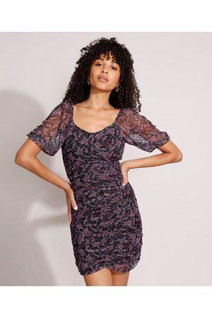 YESSICA Mulher Vestido Estampado - Vestido de Tule Floral com Franzido Curto Manga Bufante Preto