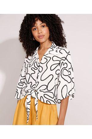 Yessica Mulher Camisa Manga Curta - Camisa de Viscose Estampada Abstrata com Nó Manga Curta Ampla Branca