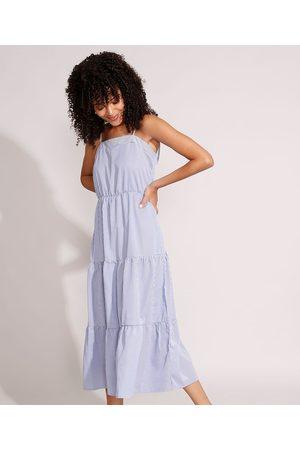YESSICA Mulher Vestido Estampado - Vestido Listrado com Recortes Midi Alça Laço Azul