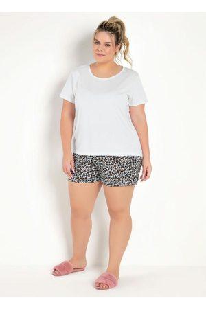 Marguerite Pijama Curto Animal Print Onça e