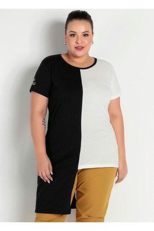 Marguerite Blusa Preta e Off White Assimétrica Plus Size