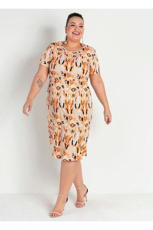 Marguerite Vestido Midi Étnico com Babado Plus Size