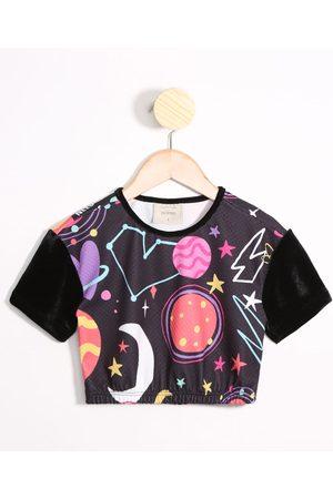 PALOMINO Menina Blusas de Manga Curta - Blusa Infantil Estampada Planeta Neon Cropped Manga Curta Decote Redondo Preta