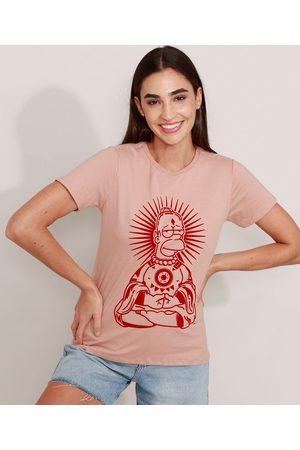 Os Simpsons Mulher Camiseta - Camiseta Homer Flocado Manga Curta Decote Redondo Claro
