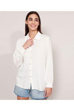 Clockhouse Mulher Camisa Casual - Camisa Oversized de Viscose Manga Longa Off White