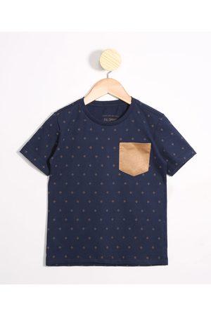 PALOMINO Menino Camisolas de Manga Curta - Camiseta Infantil Estampada Geométrica com Bolso em Suede Manga Curta Gola Careca Azul Marinho