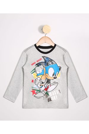SEGA Menino Camisolas de Manga Larga - Camiseta Infantil Sonic Manga Longa Gola Careca Mescla Claro