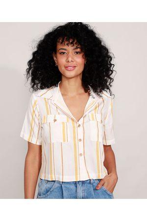 Clockhouse Camisa Cropped de Viscose Listrada com Bolsos Off White