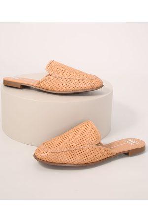 C&A Mulher Sapato Mule - Mule Feminino com Micro Furos Moleca Claro