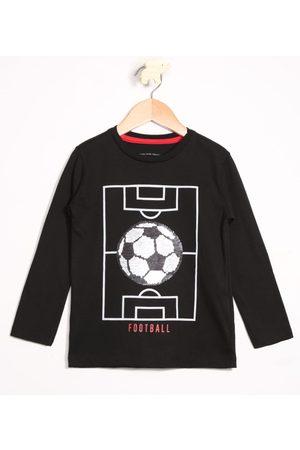 Palomino Camiseta Infantil Futebol Estampa Interativa Paetê Dupla Face Manga Longa Gola Careca Preta