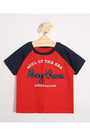 Baby Club Camiseta Infantil Raglan Manga Curta Gola Careca Vermelha