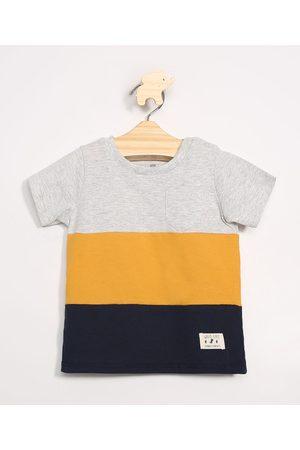 BABY CLUB Camiseta Infantil com Recortes Manga Curta Gola Careca Mescla Claro