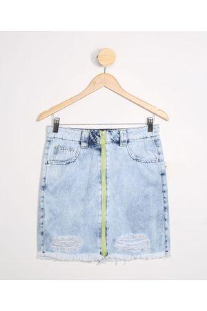 Fifteen Menina Saia Jeans - Saia Juvenil Jeans com Zíper Neon Claro