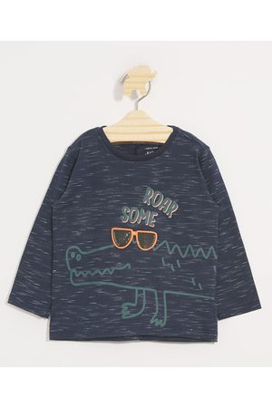 Baby Club Camiseta Infantil Jacaré Estampa Interativa Manga Longa Gola Careca