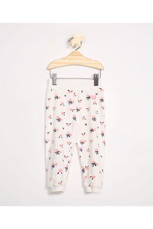 BABY CLUB Menino Calça Jogger - Calça Infantil de Plush Jogger Estampada Floral Off White
