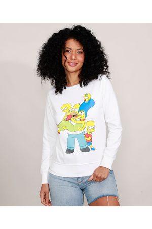Os Simpsons Mulher Casacos - Blusão de Moletom Decote Redondo Off White