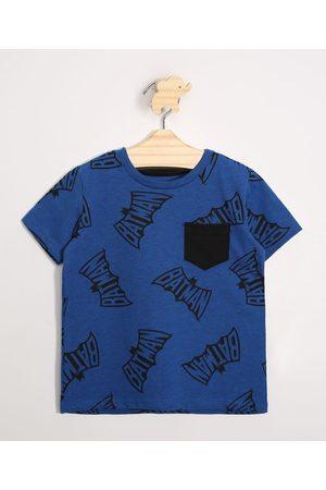 Warner Bros Menino Camisolas de Manga Curta - Camiseta Infantil Batman com Bolso Manga Curta Gola Careca Azul