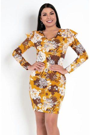 MODA POP Mulher Vestido Estampado - Vestido Floral Mostarda com Babado nos Ombros