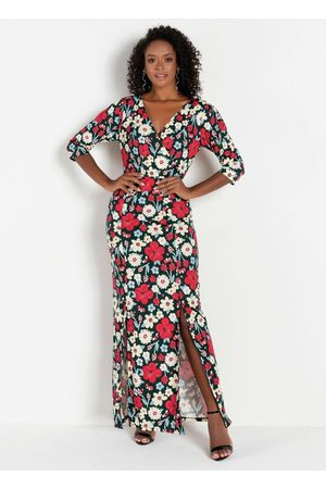 MODA POP Mulher Vestido Estampado - Vestido com Fendas Frontais Floral