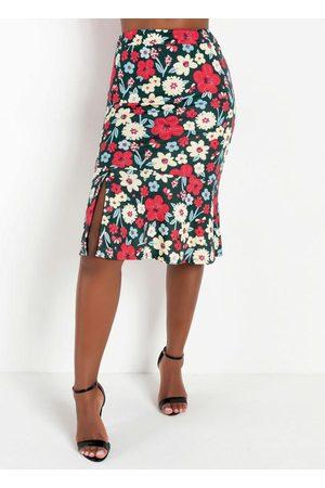 QUEIMA ESTOQUE Mulher Saia Estampada - Saia Peplum com Fenda no Babado Floral