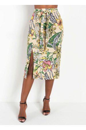 MODA POP Saia com Fenda Floral Moda Evangélica